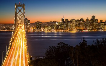 san francisco,bay bridge,ночь,yerba buena island