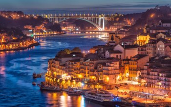 bridge,river,Nightfall in porto