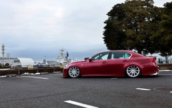ls460,lexus,Red,low,stance,люксовый