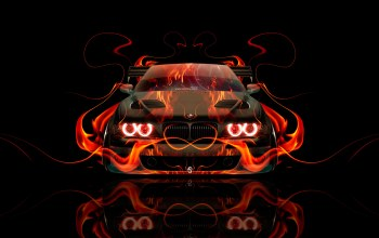 Bmw,orange,Abstract,el tony cars,car,fire,flame,Tony kokhan