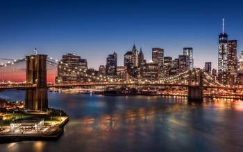 manhattan,new york,skyscrapers,Brooklyn bridge,harbour,lights