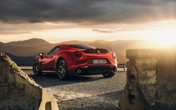 car,Alfa-romeo,rear,Sunset,launch edition,2015,4c,sport,Red