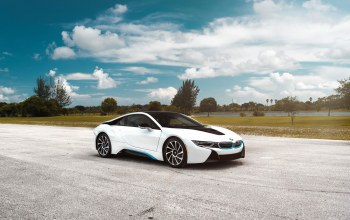 matte,White,clouds,Bmw,car,i8,sky