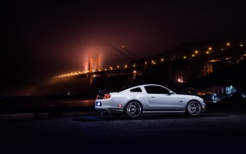 nigth,car,rear,White,Collection,Muscle,bridge