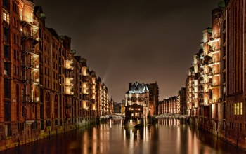 гамбург,speicherstadt,Hamburg,германия,дома,Germany,свет