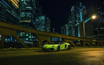 Lamborghini,downtown,nigth,chicago,supercar,roadster