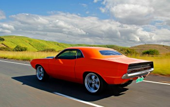 rollin,1970,в движении,orange,challenger,clouds,sunny,dodge