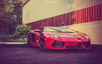 Red,supercar,Lamborghini,перед,rosso efesto