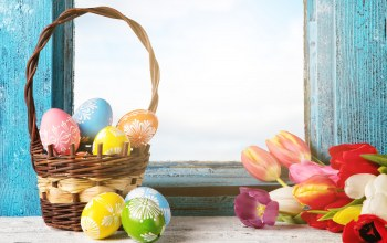 happy,яйца,basket,tulips,Easter,eggs,цветы,spring,decoration