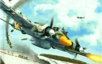 ww2,german aircraft,painting,war,Hs 129