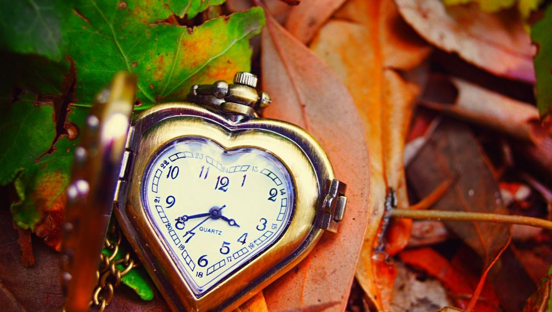 leaves,heart,clock,hands,dial,autumn