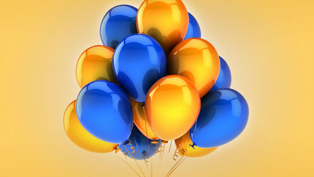 balloons,yellow,holiday,celebration,blue,воздушные шары