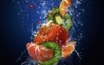 fruits,spray,свежесть,фрукты,drops,water,pomegranate,mandarin,kiwi