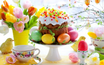 tulips,colorful,cake,пасхальный,spring,eggs,Easter,кулич