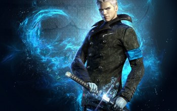 dmc 5,blue,katana,devil may cry 5,dmc,Devil may cry,virgil,grey hair,blue eyes,sword