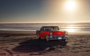 Red,summer,bel air,1956,water,chevrolet,car,old