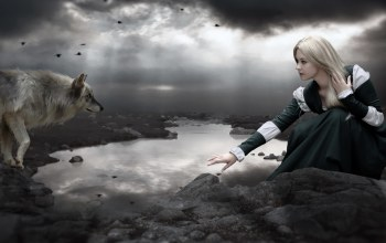 girl,wolf,photomanipulation,dark