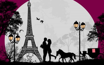 Eiffel tower,Birds,cart ,trees,horse,couple,full moon,romance,Любовь
