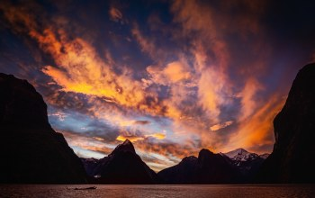 новая зеландия,Sunset,new zealand,Milford sound