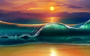 волны,waves,Sunset,beach
