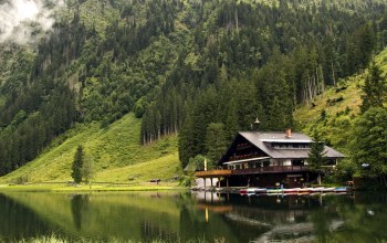 boats,forest,mountains,house