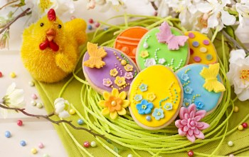 decoration,sweet,spring,Easter,eggs,holiday,colorful,cookies,pastel,chicken