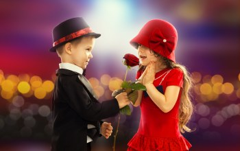 boy,childhood,rose,child,romance,couple,Valentines day,Little girl