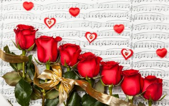 цветы,Valentines day,heart,roses