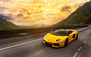 yellow,Lamborghini,Road,spoiler,Speed,supercar,light