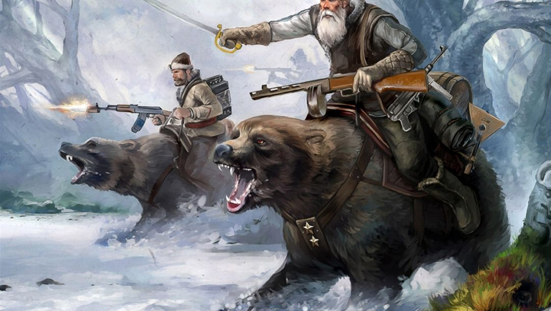 weapons of the second world war,forest,snow,trees,bears,winter,soldiers,hats,machine guns