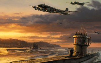 german u-boat,germans bomber,war,ww2,airplanes,Junker ju 88,painting,drawing