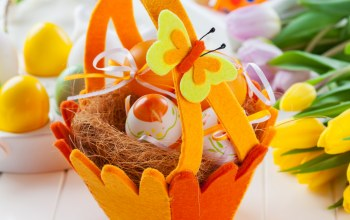 colorful,яйца,Easter,корзина,basket,tulips,eggs