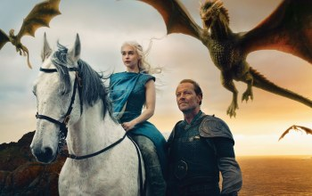 Game of thrones,драконы,emilia clarke,jorah mormont,iain glen,daenerys targaryen