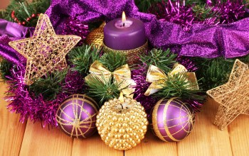 merry christmas,purple balls,decoration,stars,ribbon,candles