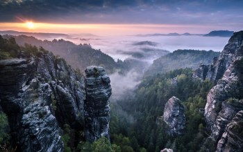 fog,clouds,mist,saxon switzerland,sunrise,landscape,rocks