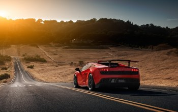 spoiler,Lamborghini,Road,supercar,Red,super trofeo,rear