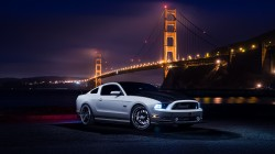 Front,Muscle,nigth,White,top,mustang,car,Ford,river,Collection,aristo,bridge