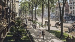 peoples,saratoga springs,colorized,new york,vintage,1915,Broadway
