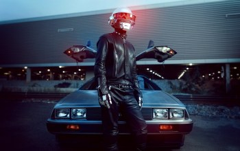 Daft punk,light,delorean,Leather,car,Music