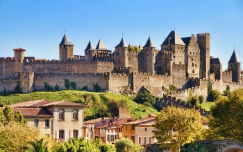 замок,дома,castle of carcassonne