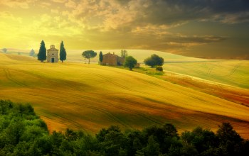 landscape,italy,trees,countryside,beautiful field,Sunset,sky,Tuscany,summer