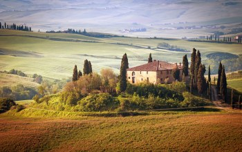countryside,house,sky,trees,landscape,summer,italy,Tuscany