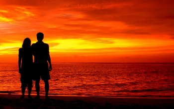 beautiful red sky sunset ,Maldives,Romantic silhouette ,indian ocean,loving couple