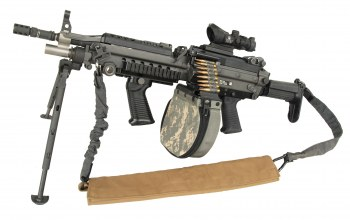 m249,weapon,telescopic sights,military,improved m249,circular charger,sling