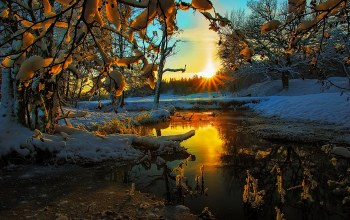 tree,landscape,ice,scenery,clouds,snow,view,winter,sky,Sunset,season,colors