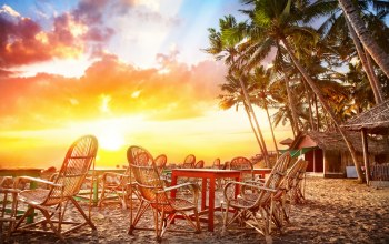 tropical ,beautiful,chairs,Coastline,cafe,india,palms,landscape,ocean,Sunset