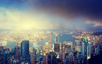 clouds,lights,river,china,Hong,Victoria peak,buildings,island,kong,sky