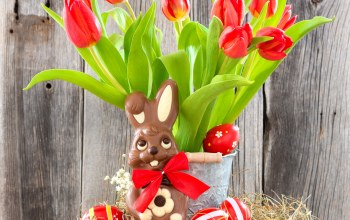 tulips,bunny,Red,Easter,eggs,яйца