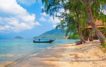 landscape,sky,trees,beautiful,thailand,boat,sand,beach koh tao ,tropical