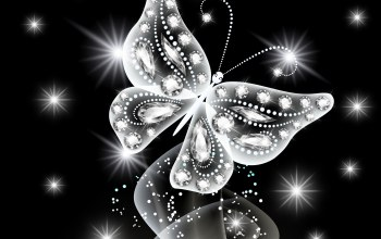 неоновая,jem,Butterfly,White,diamonds,Abstract,glow,sparkle
